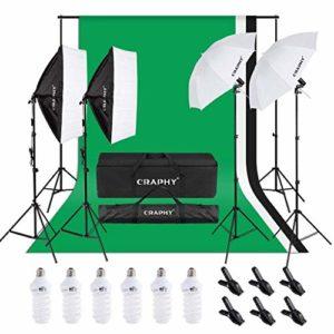 Kit Eclairage Studio, Support de Fond 2,6mx 3m avec Toile de Fond Vert Blanc Noir, Kit Parapluies et Softbox 6x45W pour Studio Photo