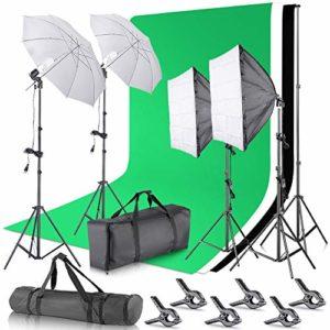Neewer Kit Eclairage Studio Support de Fond de 2,6x3m avec 3×3,6m Toile de Fond, Eclairage Continu de 800W 5500K avec Softbox Parapluie pour Photographie Studio