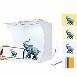 Scelet Kit de Tente de Prise de Vue pour Mini-Studio Photo, boîte à Anneaux de 20 cm, Panneau LED Pliable, kit de boîte de Tente de tir pour Studio Photo déclairage avec 6 Fonds de Couleurs